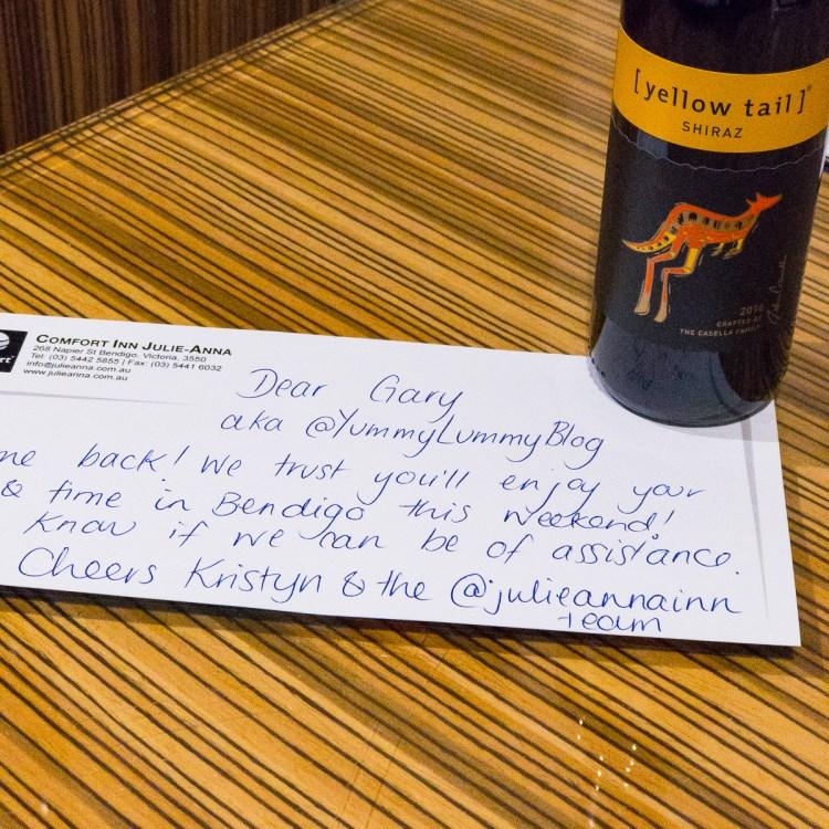 Welcome note from Comfort Inn Julie-Anna Gary Lum