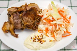 Lamb chops with coleslaw and wasabi sour cream Gary Lum four kilograms