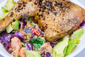 Chicken Maryland with stir-fried spicy creamy cabbage salad. Stalled weight loss. Gary Lum.