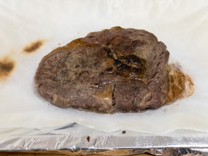 This is a photograph of Scotch fillet steak seared with a torch