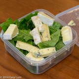 Thursday2014-01-23 12.39.00-2AEDT Lunch box with Blue cheese, Brie, cos lettuce, lamb and pork