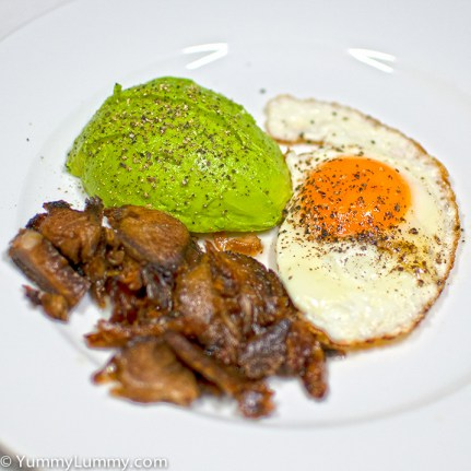 Thursday2014-01-30 05.43.30-1-1AEDT Fried egg with avocado and lamb for breakfast