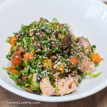 Sunday 2014-02-02 18.31.39 AEDT Warm salmon salad made with lamb fat. The salad has some lamb in it plus cos lettuce, parsley, spring onion, fried shallots, tomatoes, sweet potato and pumpkin.