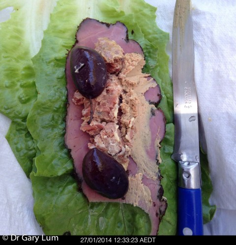 Monday2014-01-27 12.33.21AEDT Lettuce boat made with cos lettuce, New York style pastrami, Maggie Beer pâté, Foie gras, hummus and Kalamata olives.