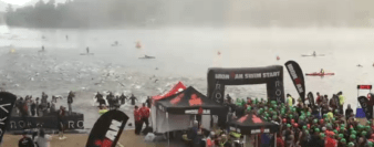 Swim start of the 2016 Lake Placid Ironman.