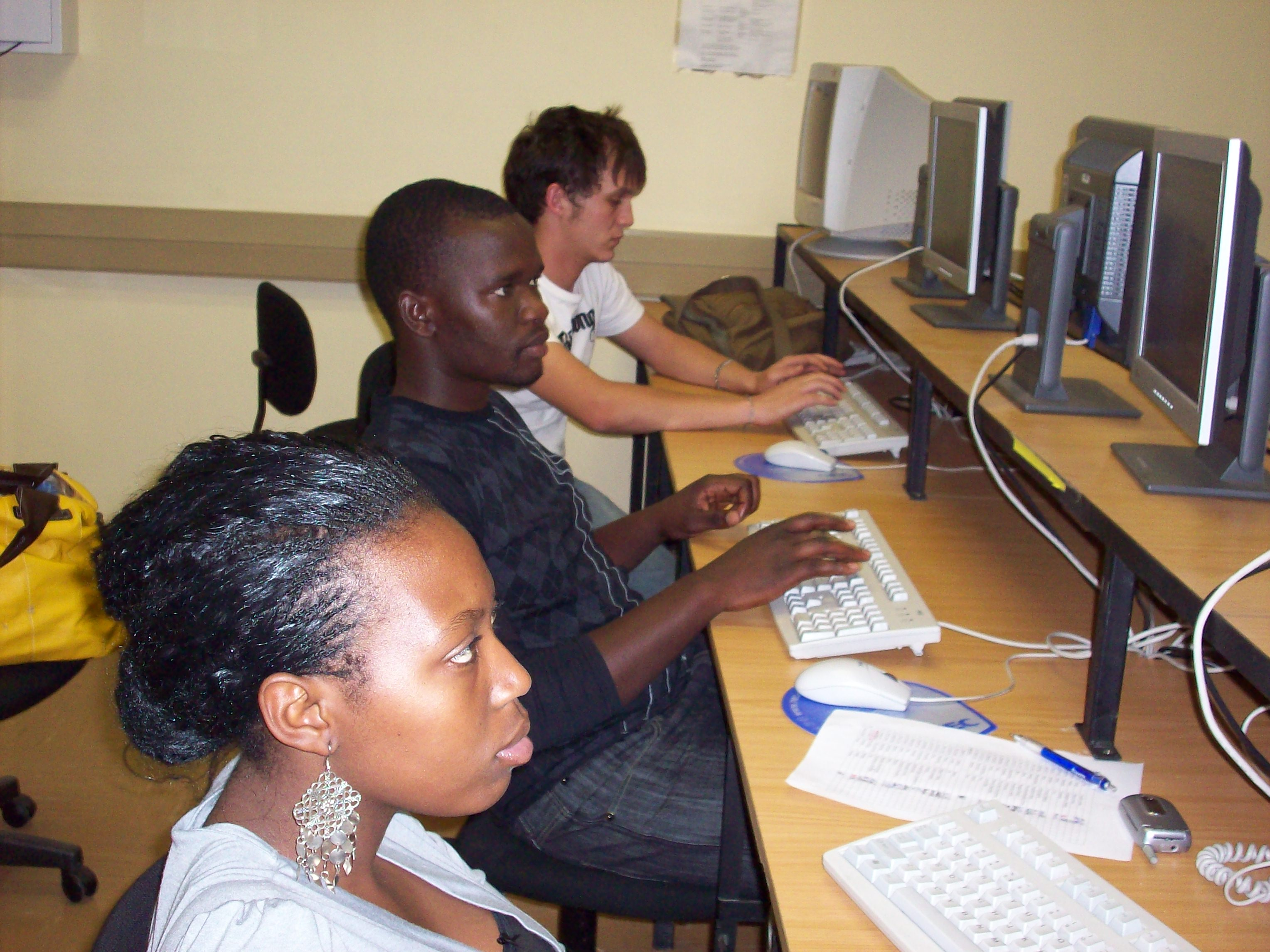 Students at the Pretoria campus work on their assignments.