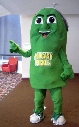 The Podcast Pickle Mascot