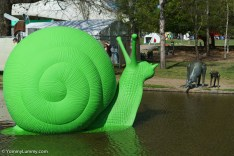 A giant green snail at Floriade. | SONY ILCE-7S with FE 55mm F1.8 ZA at 55mm and f/4, 1/8000sec, ISO 400