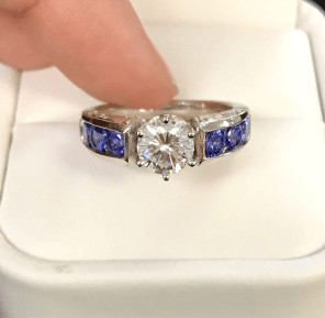 Platinum Tanzanite and Diamond Engagement Ring
