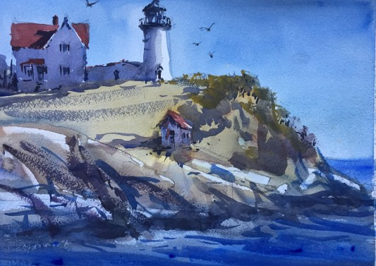 Nubble Point Lighthouse watercolor gary smith