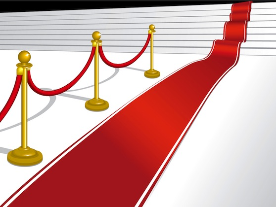 A red carpet leading up some stairs