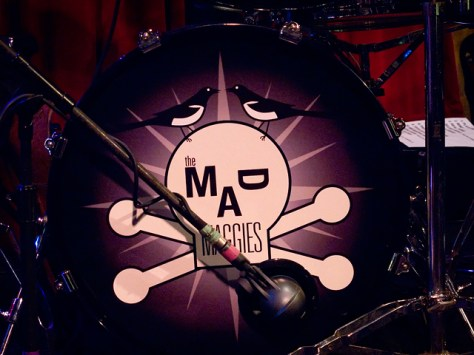The Mad Maggies logo on the kick drum