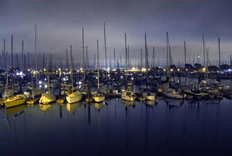 Berkeley Yacht Club boats at night
