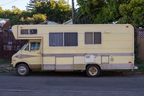 Old camper van on First Sreet in Petaluma