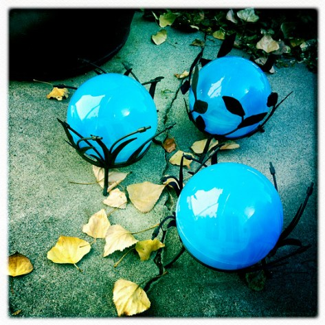 Blue globes with Fall leaves
