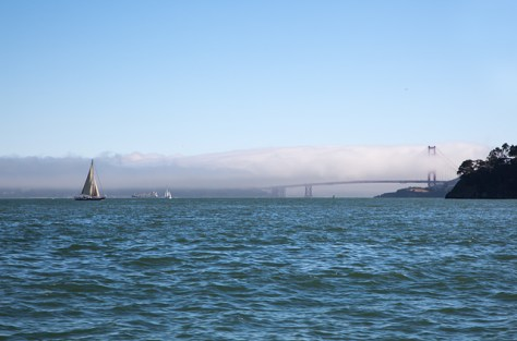 View of the Golden Gate from a boat leaving Angel Island
