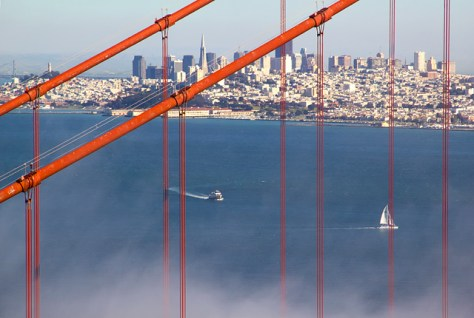 Golden Gate Bridge cables and city