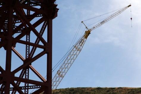 Yellow crane at the Golden Gate Bridge