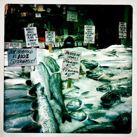 Fish on ice at Pike Place Market in Seattle