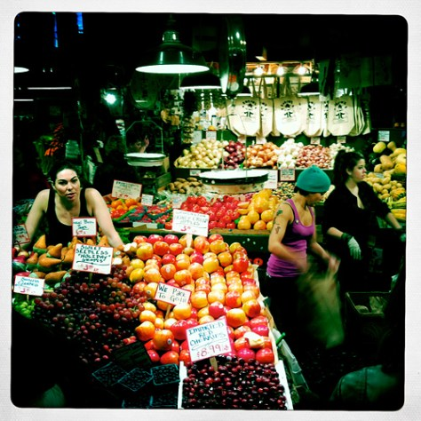 Pike Place Market fruit girls