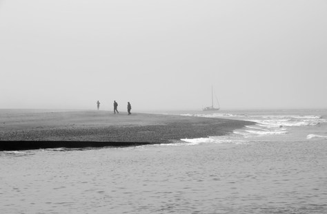 People on beach shrouded in fog