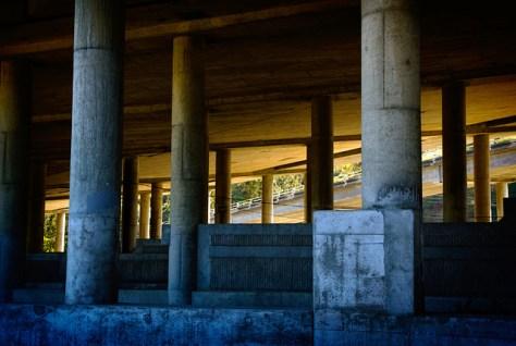 Support columns under the Mill Valley bridge