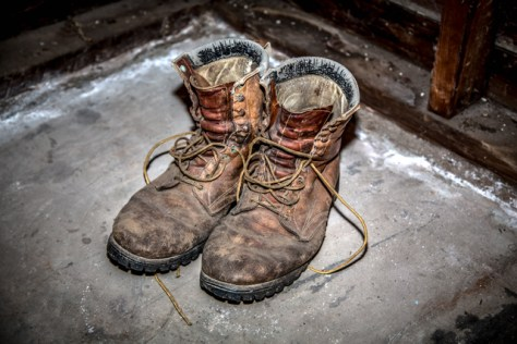 Old boots on old garage concrete