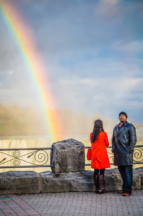 Niagara Falls rainbow with couple