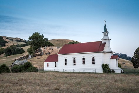 Church at Rancho Nicasio at twilight
