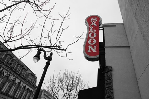 Red saloon sign