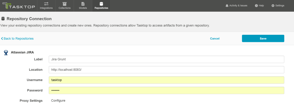 Tasktop Sync Gateway Repository Connection