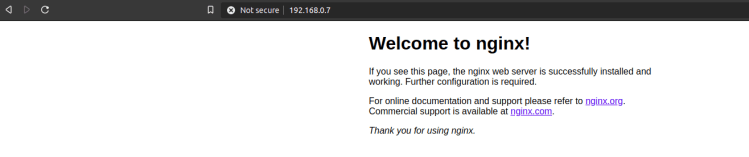 nginx test page on the raspberry pi