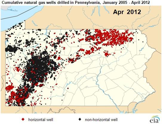 Карта газовых скважин штат Пенсильвания Marcellus Shale