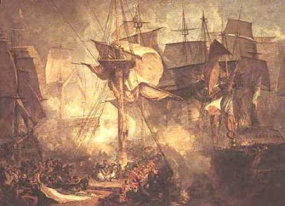 Turner's magnificent representation of the Battle of Trafalgar