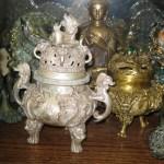 Foo dogs, antique incense burner