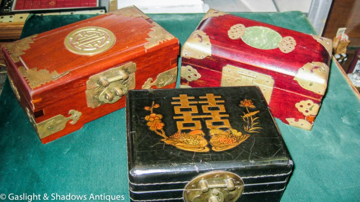 wood and jade boxes
