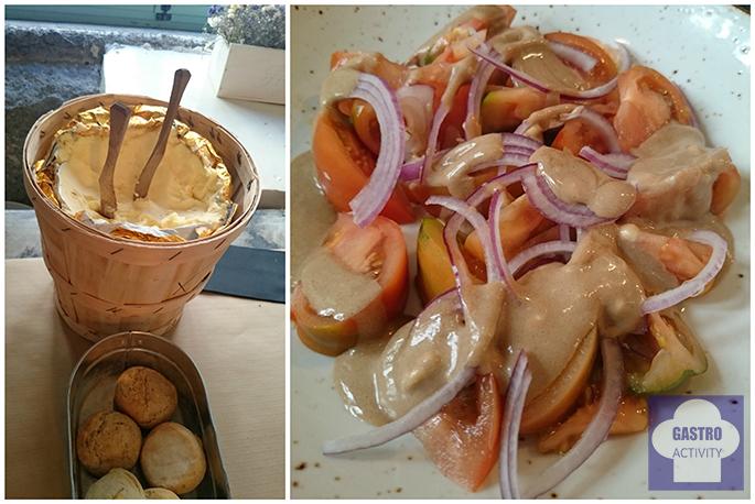 Mantequilla casera de aperitivo y Ensalada de tomate con cebolla roja en restaurante Le Coco