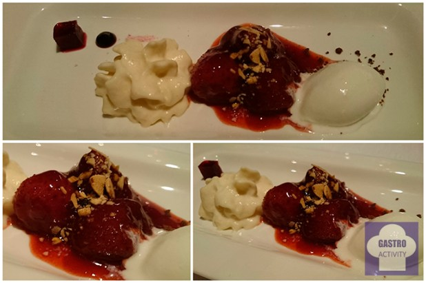 Fresas estofadas, remolacha agridulce, almendras amargas y yogurt griego en Arbidel 1 estrella Michelin