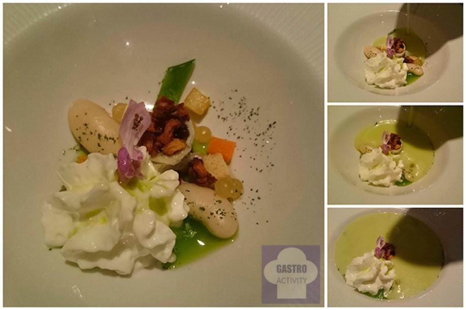 Gazpacho de manzana verde, sardina marinada y Pria