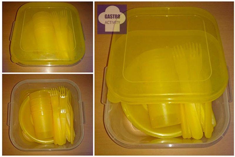 Kit de cubiertos, vasos y platos de plástico