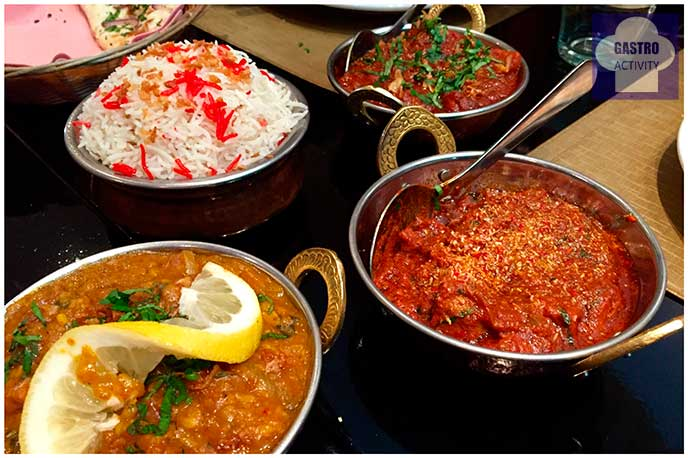 Lamb Dhanshak, Lamb Madras y Lamb Vindaloo Restaurante Purnima comida hindu Madrid