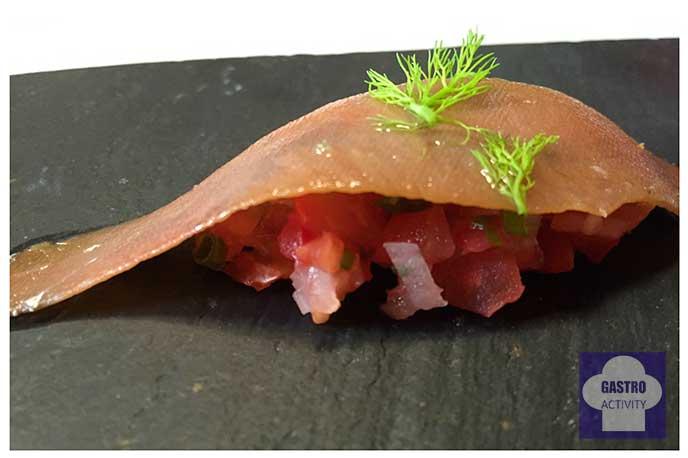 Anchoas de Santoña con tartare de tomate Restaurante Gala Madrid