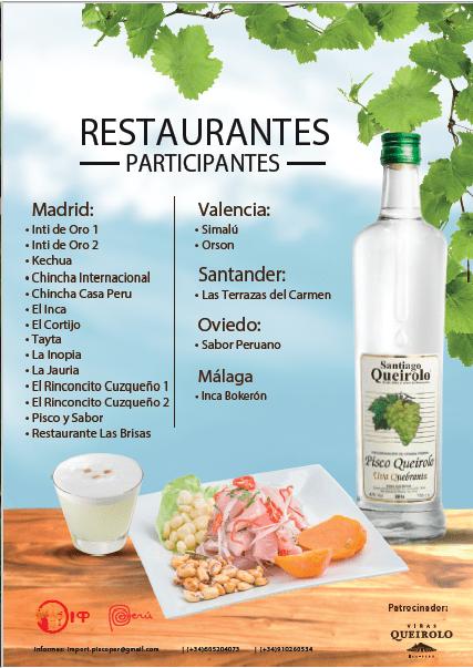 Ruta de la Tapa Peruana y Pisco Queirolo restaurantes