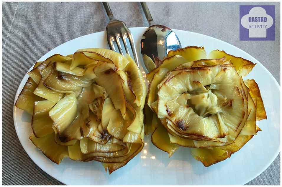 Alcachofas en flor con AOVE Restaurante Orgaz Campo de las Naciones