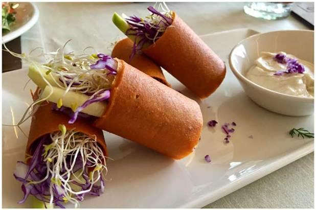 Veggie rolls Level Veggie Bistro restauante crudivegano