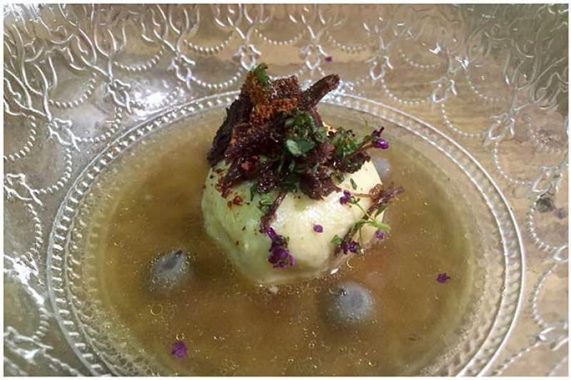 Sopa agripicante de cabra Restaurante Gofio Madrid
