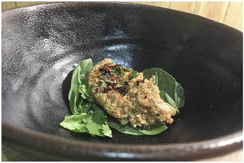 Trucha de conejo al salmorejo Restaurante Gofio Madrid