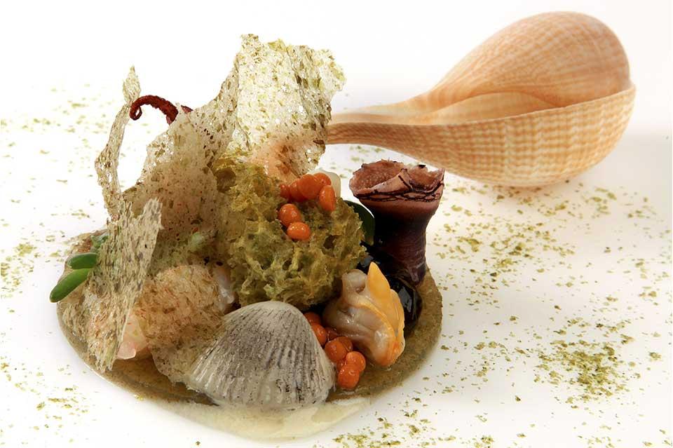 Coral de moluscos Ultima cena del restaurante Coque en Humanes de Madrid