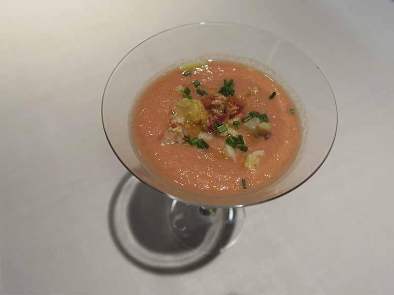 Restaurante Sando Gran Via Madrid Gazpacho de fresas y mimosa de bogavante