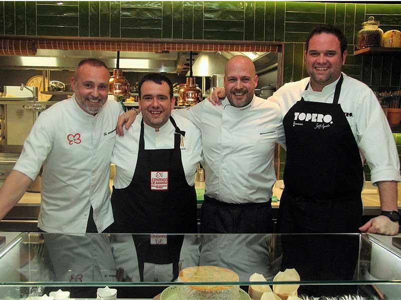 Rodrigo de la Calle y 3 chefs navarros Luis Salcedo, Virgilio Martinez, Jose Aguado Fiestas de las Verduras de Tudela